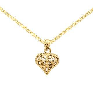 Versil 14k Yellow Gold Diamond-cut Filgree Fleur-de-lis Heart Pendant