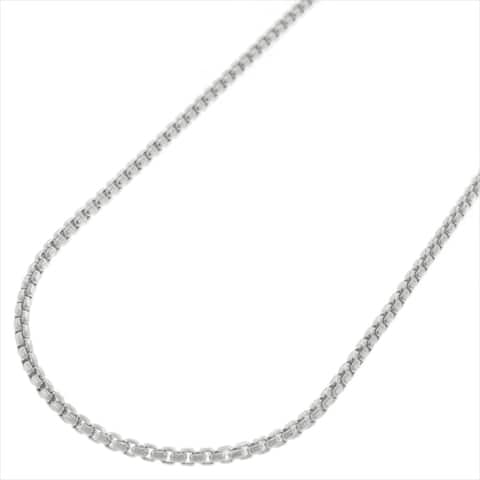 "Sterling Silver Italian 1.5mm Round Box Link 925 Rhodium Necklace Chain 16"" - 24"""