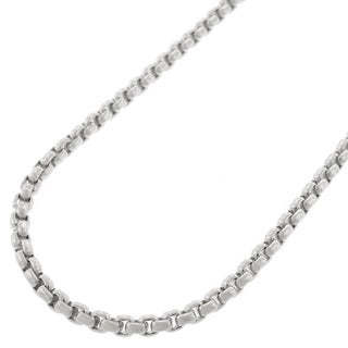 "Sterling Silver Italian 2.5mm Round Box Link 925 Rhodium Necklace Chain 18"" - 30"""