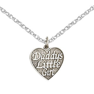 Versil 14k White Gold Polished Daddy's Little Girl Heart Charm with 18-inch Chain