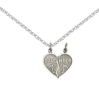 Versil 14 Karat White Gold Daughter Mom 2-piece Heart Charm with Two 18-inch Chains
