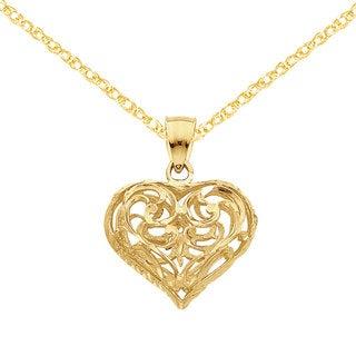 Versil 14k Yellow Gold 3D Diamond-cut Open Filigree Heart Pendant with 18-inch 14k Gold Chain