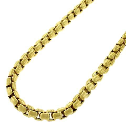 """Sterling Silver Italian 5mm Hollow Round Box Link 925 Yellow Gold Plated Necklace Chain 24"""" - 40"""""""