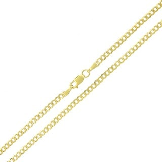10k Yellow Gold 2.5mm Solid Cuban Curb Link Necklace