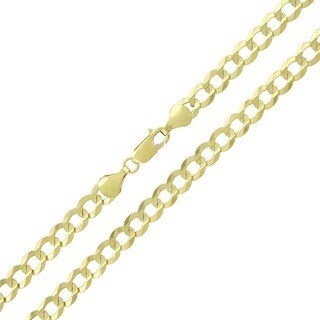 10k Yellow Gold 6mm Solid Cuban Curb Link Necklace