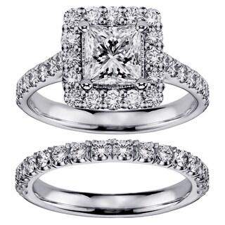 Platinum 2 3/5ct TDW Diamond Halo Bridal Ring Set (G-H, SI1-SI2)