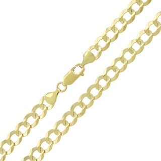 10k Yellow Gold 7mm Solid Cuban Curb Link Necklace
