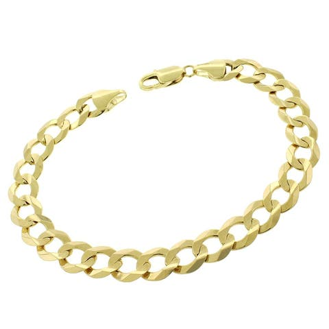 """10k Yellow Gold 9mm Solid Cuban Curb Link Bracelet Chain 9"""""""