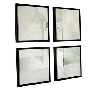 Daniel Cacouault's 'White' Gallery 4 Piece Floater Framed Canvas Sqare Set
