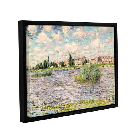 Claude Monet's 'Seine at Lavacourt' Gallery Wrapped Floater-framed Canvas