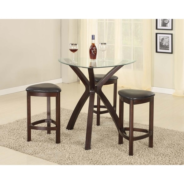 4 Piece Triangle Solid Wood Bar Table And Stools With Gl Top In Dark Brown