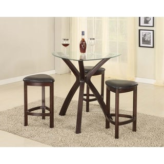 4 Piece Triangle Solid Wood Bar Table And Stools With Glass Top In Dark  Brown