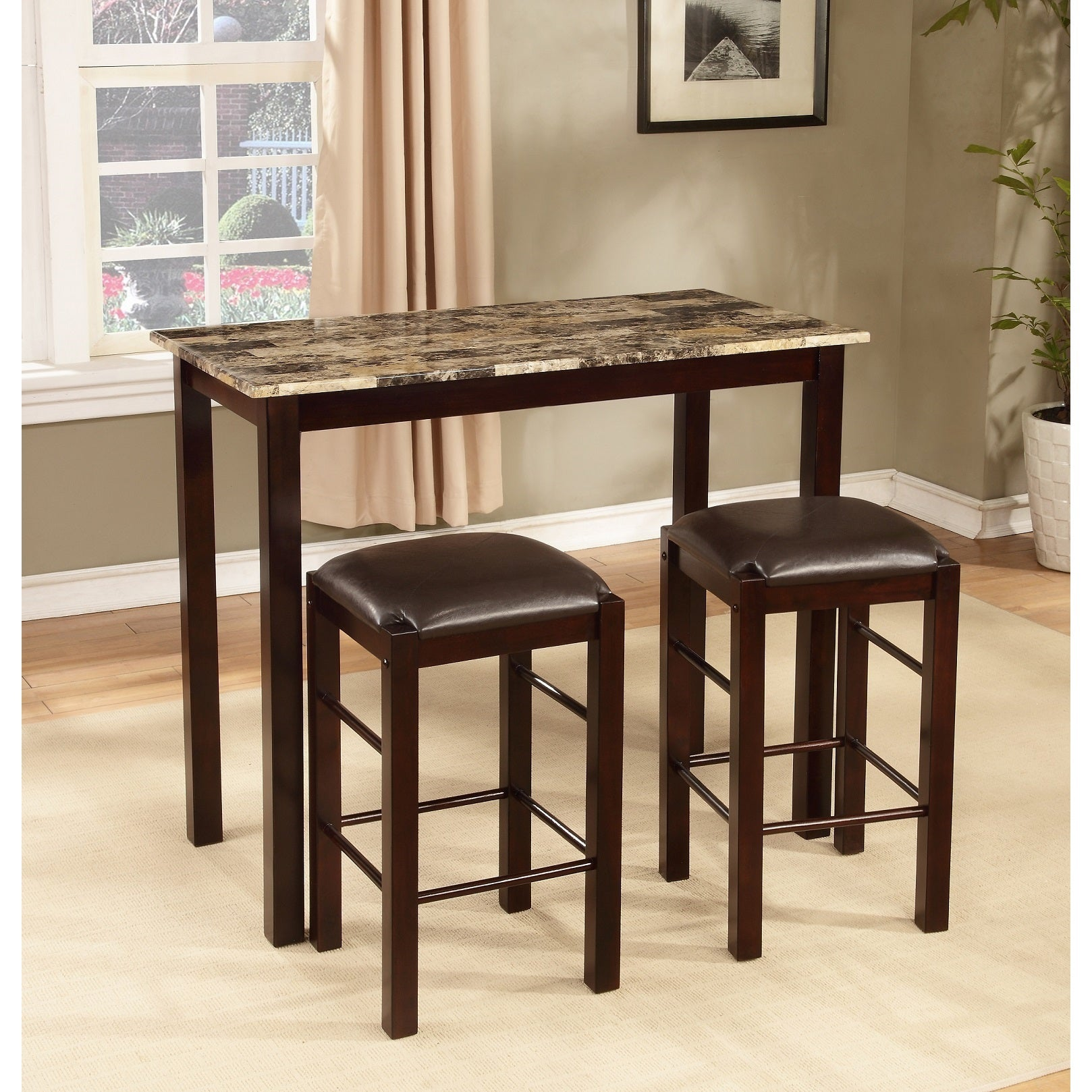 Copper Grove Luther 3 Piece Espresso Counter Height Table And Chair Set