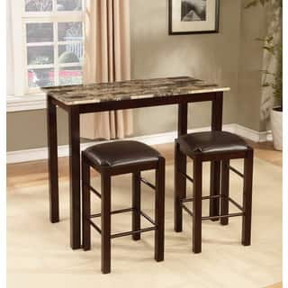 Espresso Finish 3 Piece Counter Height Table And Chair Set