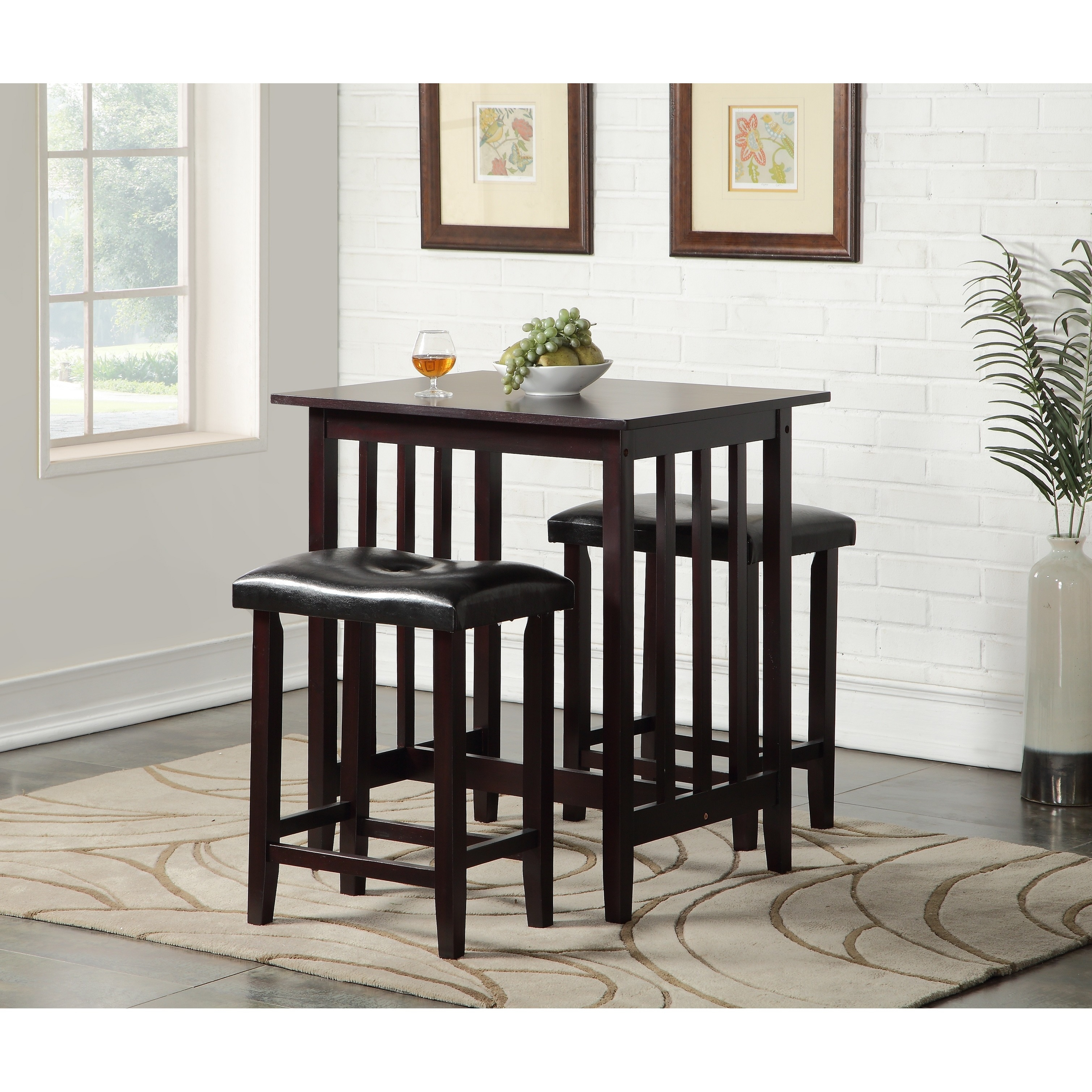 3 Piece Counter Height Dining Set with Saddleback Stools ...