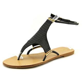 Qupid Women's 'Archer 03' Faux Black Leather Sandals