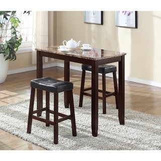 Link to Copper Grove Bloodroot 3-piece Counter Height Table and Saddleback Stools Similar Items in Dining Room & Bar Furniture