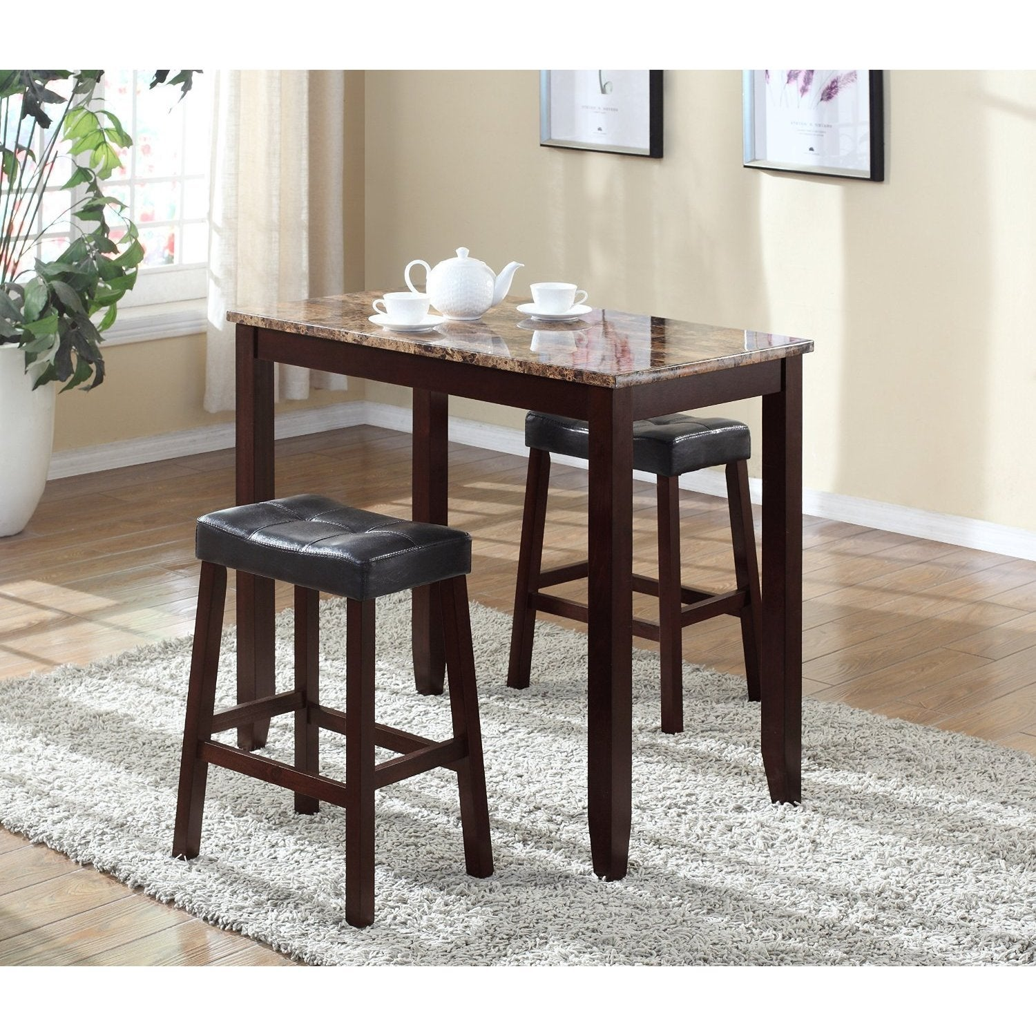 3 Piece Counter Height Table and Saddleback Stools with F...