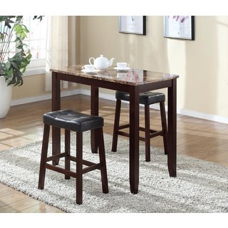 3 Piece Counter Height Table and Saddleback Stools with Faux Marble Top