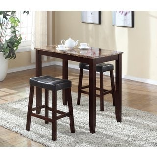 3 Piece Counter Height Table and Saddleback Stools with Faux Marble Top & Bar u0026 Pub Table Sets For Less | Overstock.com islam-shia.org
