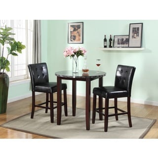 3 Piece Counter Height Set with Artificial Marble Table Top (Includes 1 Round Table and 2 Chairs)