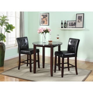 3 Piece Counter Height Set with Artificial Marble Table Top