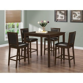 5 Piece Square Counter Height Table and 4 Stools Set in Dark Brown