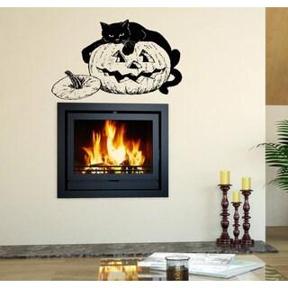Halloween witch pumpkin cat Wall Art Sticker Decal