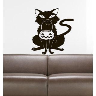 Halloween witch pumpkin cat Wall Art Sticker Decal Brown