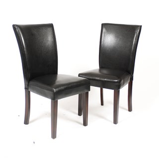 Leatherette Chair with Cherry Finished Wooden Legs (Set of 2)