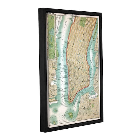 American School 'Antique Map of Lower Manhattan and Central Park,1892' Gallery Wrapped Floater-frame