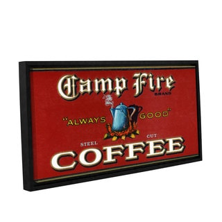 American School 'Vintage Camp Fire Coffee Product Label,1919' Gallery Wrapped Floater-framed Canvas