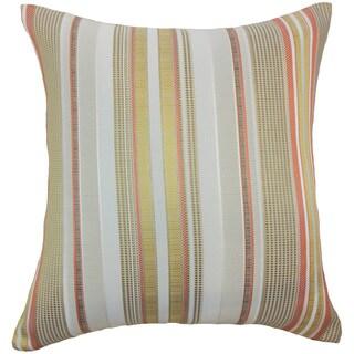 Zelag Stripes Freesia Brown Throw Pillow