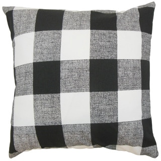 Alfonso Plaid Black Black/ Silver Throw Pillow