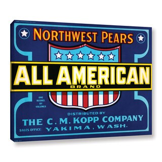 American School 'All American Brand Fruit Crate Label c.1920' Gallery Wrapped Canvas