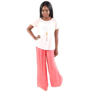 Hadari Women's Two-tone Tee and Wide Leg Light Pants (2 Piece Set)