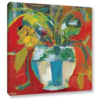 Pamela J. Wingard's 'Abstract Floral Red Aqua 2' Gallery Wrapped Canvas