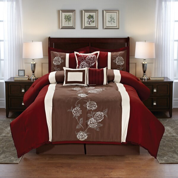 floral embroidered 7 piece comforter set free shipping today