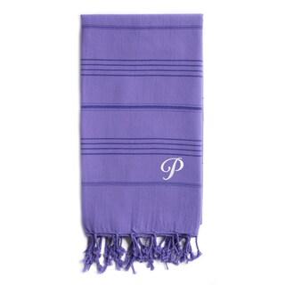 Authentic Sol Monogrammed Pestemal Fouta Lilac Tonal Stripe Turkish Cotton Bath/ Beach Towel