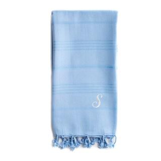 Authentic Sol Monogrammed Pestemal Fouta Sky Blue Tonal Stripe Turkish Cotton Bath/ Beach Towel