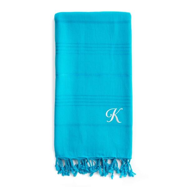 Authentic Sol Monogrammed Pestemal Fouta Turquoise Blue Tonal Stripe Turkish Cotton Bath/ Beach Towel