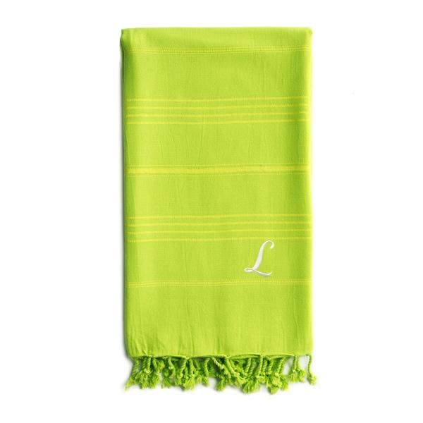 Authentic Sol Monogrammed Pestemal Fouta Pistachio Green Tonal Stripe Turkish Cotton Bath/ Beach Towel