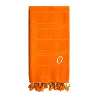 Authentic Sol Monogrammed Pestemal Fouta Dark Orange Tonal Stripe Turkish Cotton Bath/ Beach Towel