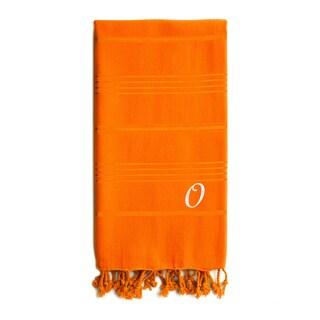 Authentic Sol Monogrammed Pestemal Fouta Dark Orange Tonal Stripe Turkish Cotton Bath/ Beach Towel - 69 x 39 (More options available)