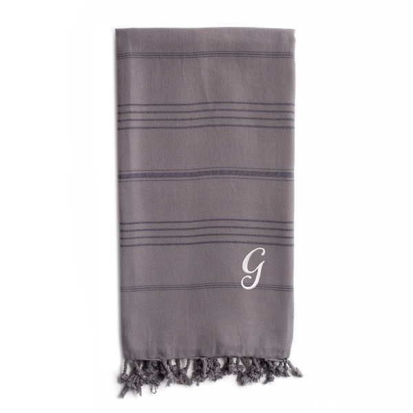 Authentic Sol Monogrammed Pestemal Fouta Grey Tonal Stripe Turkish Cotton Bath/ Beach Towel