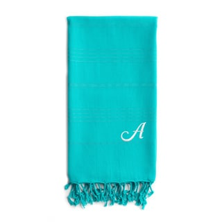 Authentic Sol Monogrammed Pestemal Fouta Aqua Green Tonal Stripe Turkish Cotton Bath/ Beach Towel