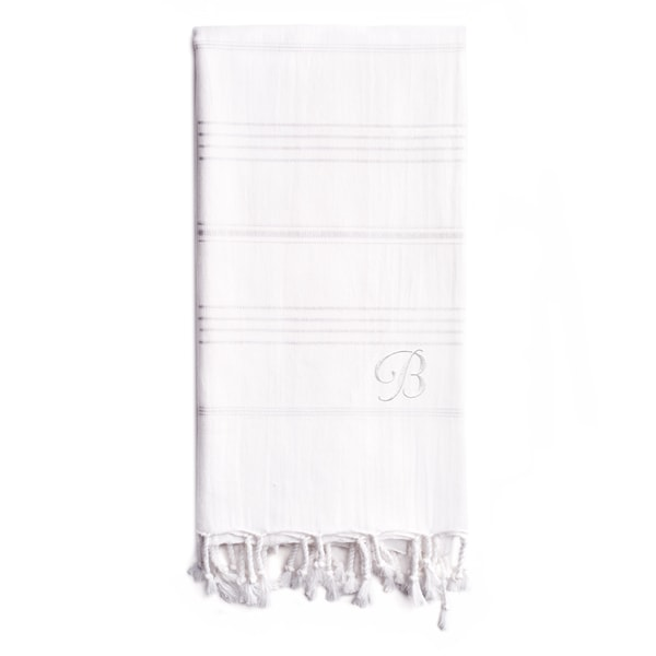 Authentic Sol Monogrammed Pestemal Fouta White Tonal Stripe Turkish Cotton Bath/ Beach Towel