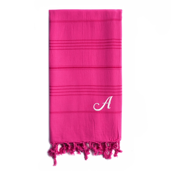 Authentic Sol Monogrammed Pestemal Fouta Hot Pink Tonal Stripe Turkish Cotton Bath/ Beach Towel