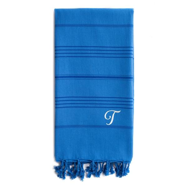 Authentic Sol Monogrammed Pestemal Fouta Royal Blue Tonal Stripe Turkish Cotton Bath/ Beach Towel