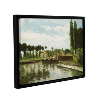 Camille Pissarro's 'The Lock At Pointoise, 1869' Gallery Wrapped Floater-framed Canvas